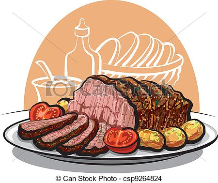 Roast Beef With Roasted Potatoes And Tomatoes Csp9264824   Search Clip