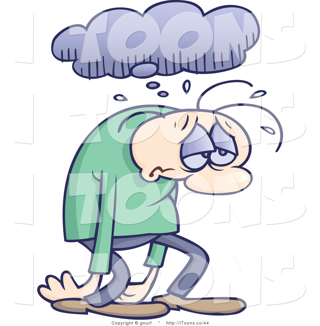 Vector Clip Art Of A Gloomy Man Sulking And Walking Under A Rain Cloud
