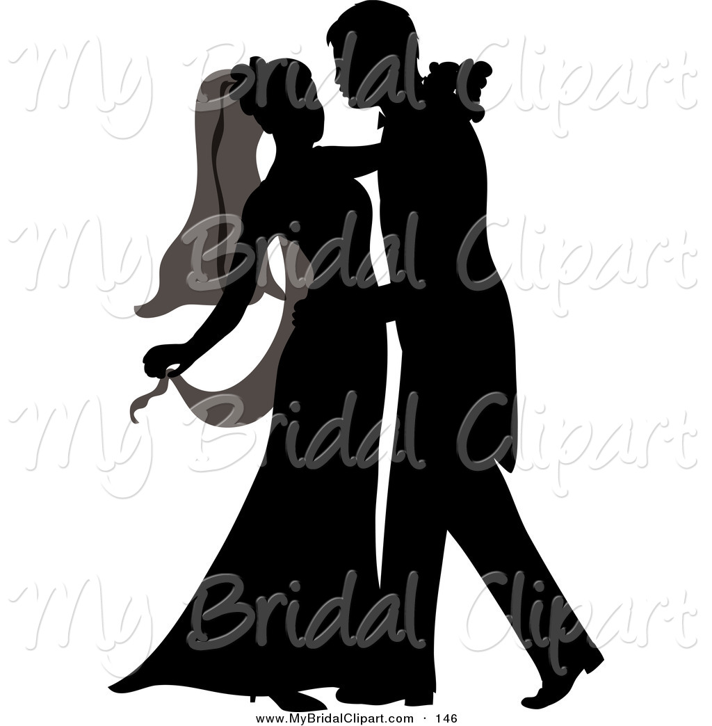 Bridal Clipart Of A Silhouetted Newlywed Couple Dancing At Their