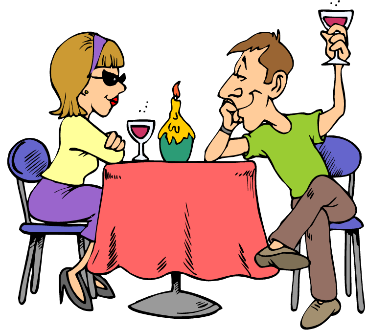 Cartoon Drawing Of A Young Couple At Dinner