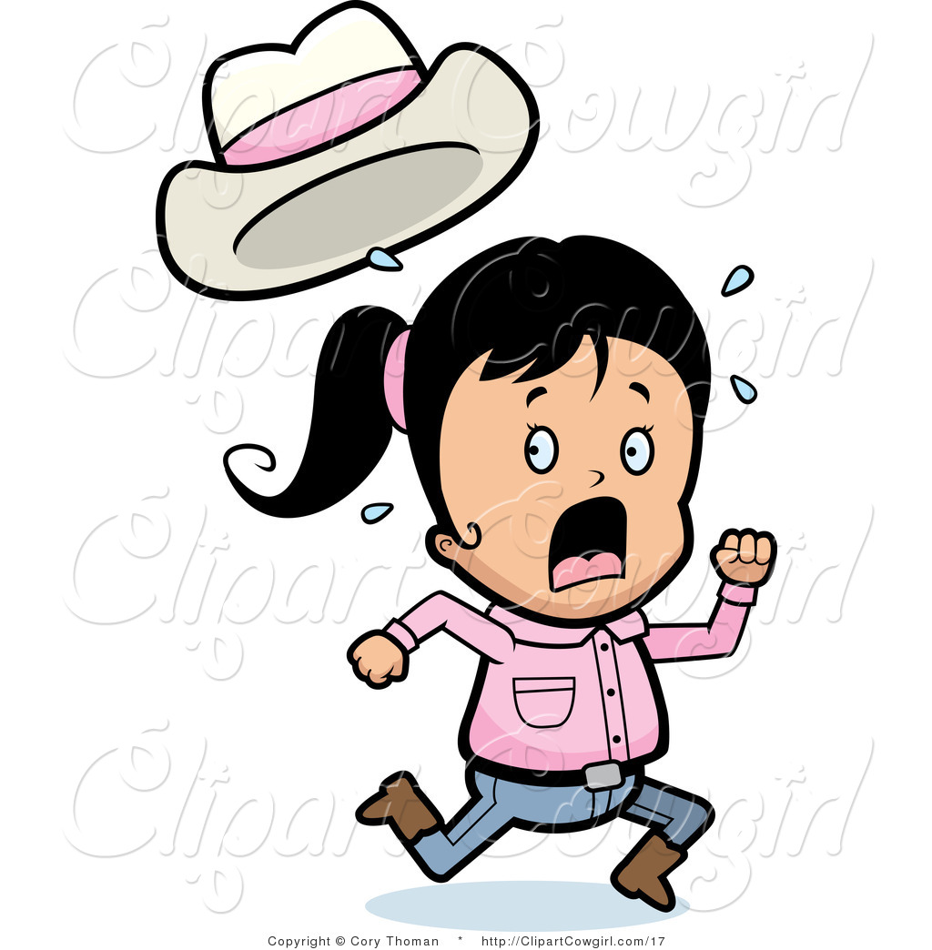 Clipart Of A Scared Cowgirl Running And Screaming By Cory Thoman    17