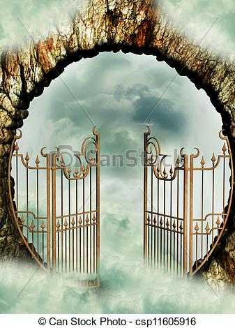 Clipart Of Heaven Door In The Sky With Clouds Csp11605916   Search