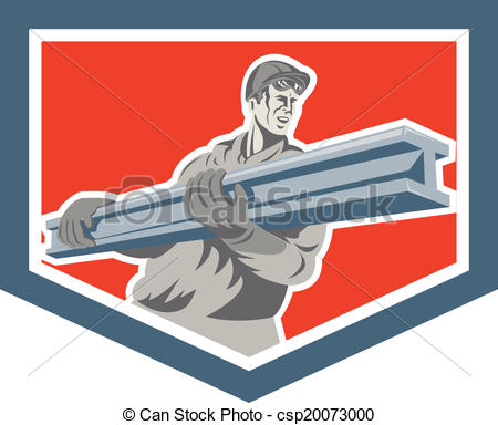 Construction Steel Worker Carrying I Beam Shield Retro   Csp20073000