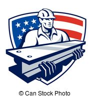 Construction Worker I Beam Shield   Illustration Of A