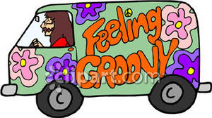 Hippy Driving A Van That Feels Groovy   Royalty Free Clipart Picture