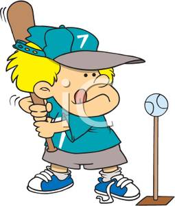 Kid Playing T Ball   Clipart