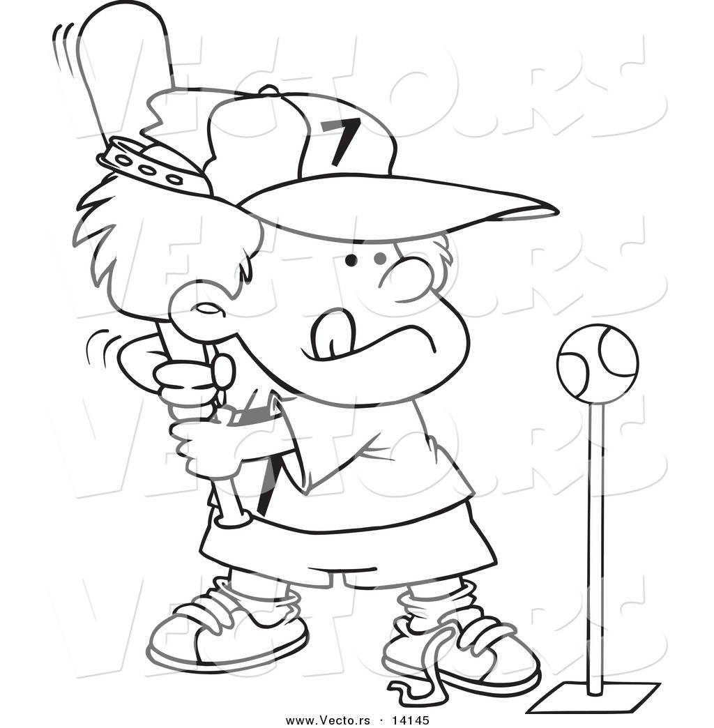 Larger Preview  Vector Of A Cartoon Boy Playing Tee Ball   Coloring