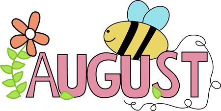 Month Of August Summer Clip Art Image   The Word August In Pink