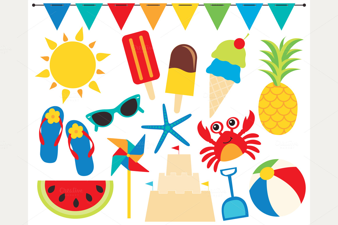 Summer Time    Beach Clipart   Illustrations On Creative Market