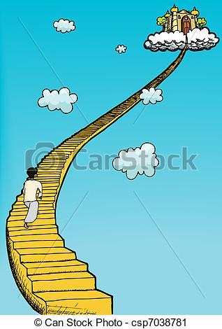 Vector Clip Art Of Stairway To Heaven   Person In Gown Climbs Golden