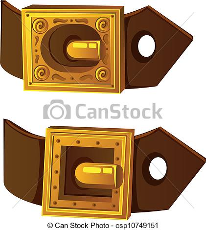 Vector   Gold Buckle On Brown Belt   Stock Illustration Royalty Free