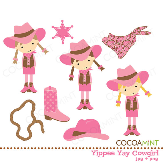 Yippee Yay Cowgirl Clip Art By Cocoamint On Etsy