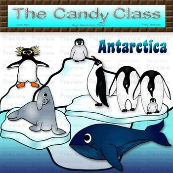 Antarctica Clip Art Set With Penguins Whale   Glaciers  Color   Black