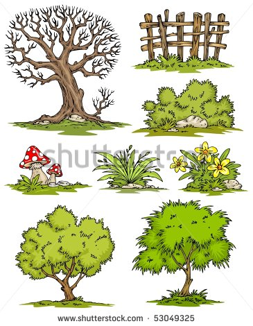 Cartoon Trees Flowers Bushes Clip Art Color   Stock Vector