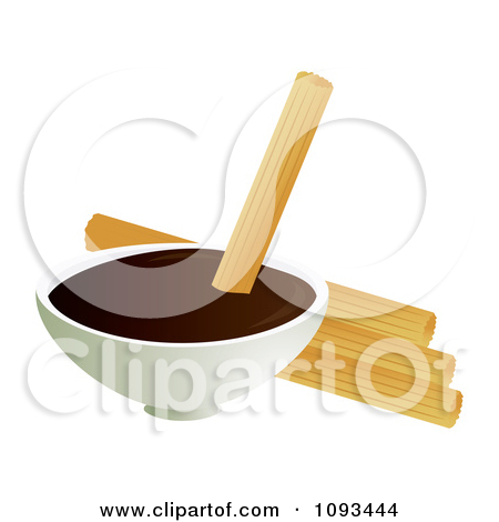 Clipart Churros And Chocolate Dip 2   Royalty Free Vector Illustration