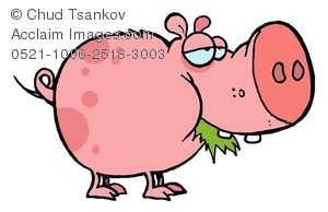 Clipart Image Of A Bored Pink Pig Eating Grass   Acclaim Stock