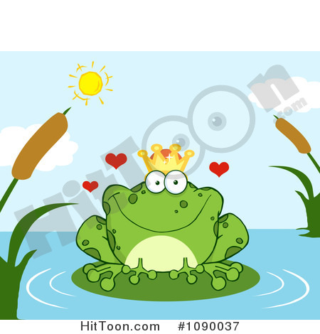 Clipart Loving Frog Prince Perched On A Pond Lily Pad   Royalty Free
