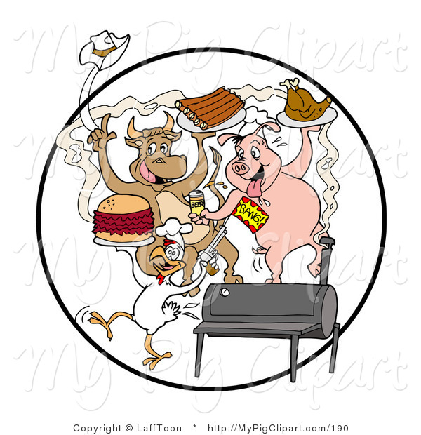 Clipart Of A Happy Cow Pig And Chicken Celebrating At A Bbq Eating