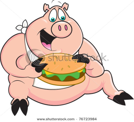 Funny Pig Eating Pig Clipart