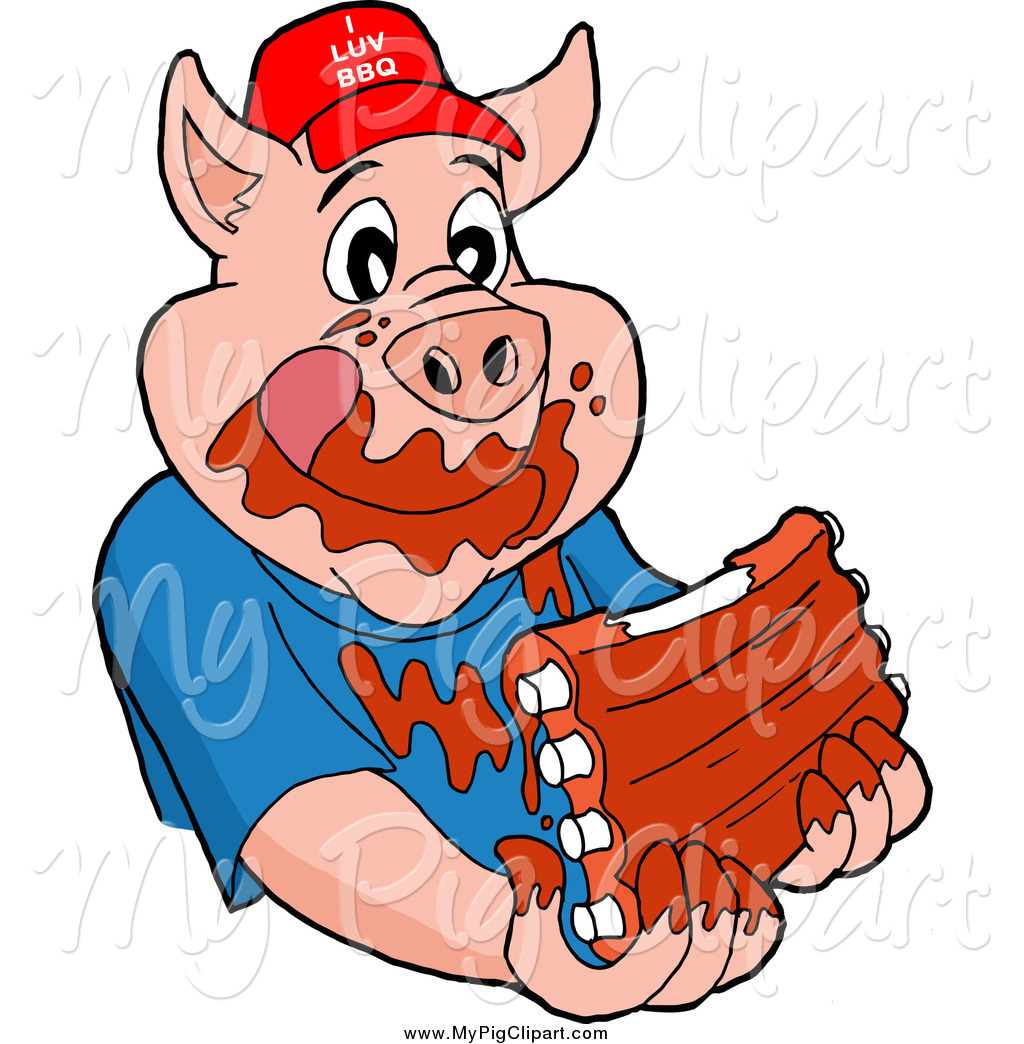 Larger Preview  Swine Clipart Of A Hungry Pig Wearing A Hat And Eating