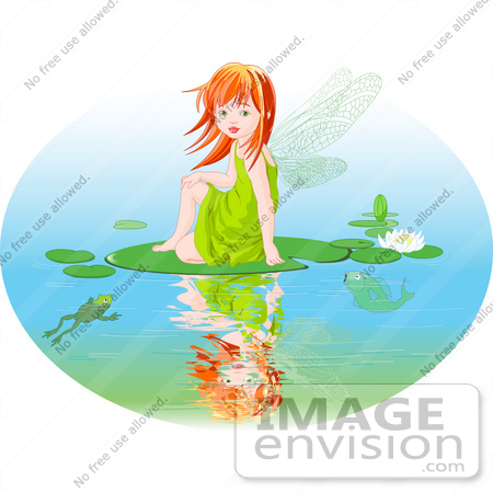 Of A Red Haired Fairy Girl Sitting On A Lily Pad On A Pond By Pushkin