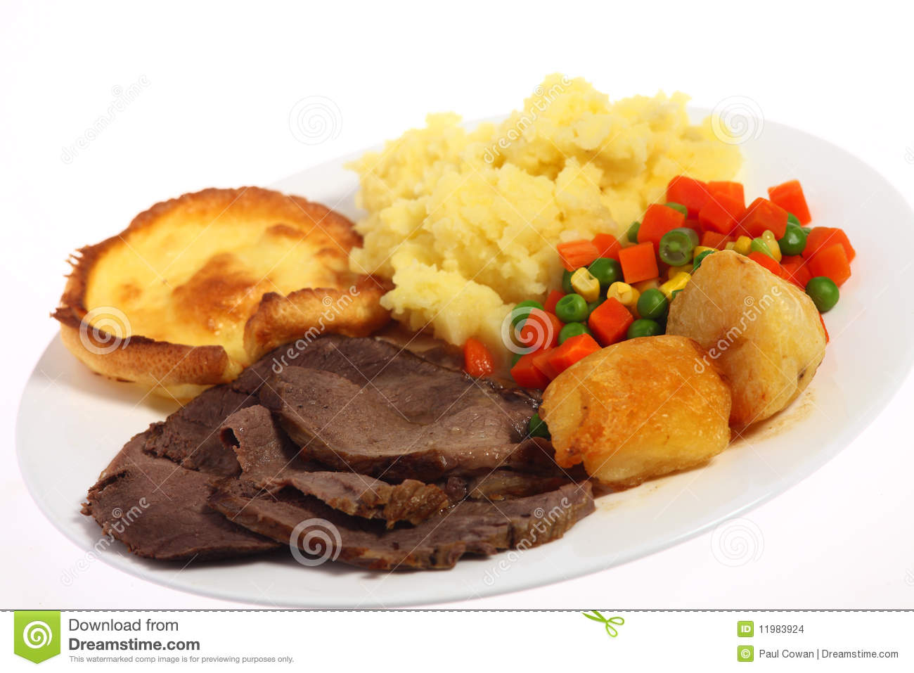 Plate Of Roast Beef With Mixed Vegetables And Roasted And Mashed