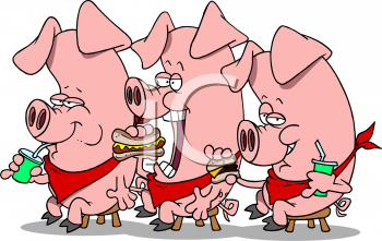 Royalty Free Clip Art Image  Three Pigs Eating Fast Food