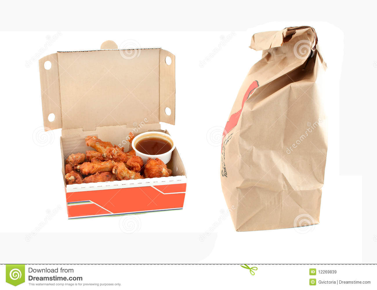 Sauce On A White Background With Take Out Or Delivery Bag On The Side