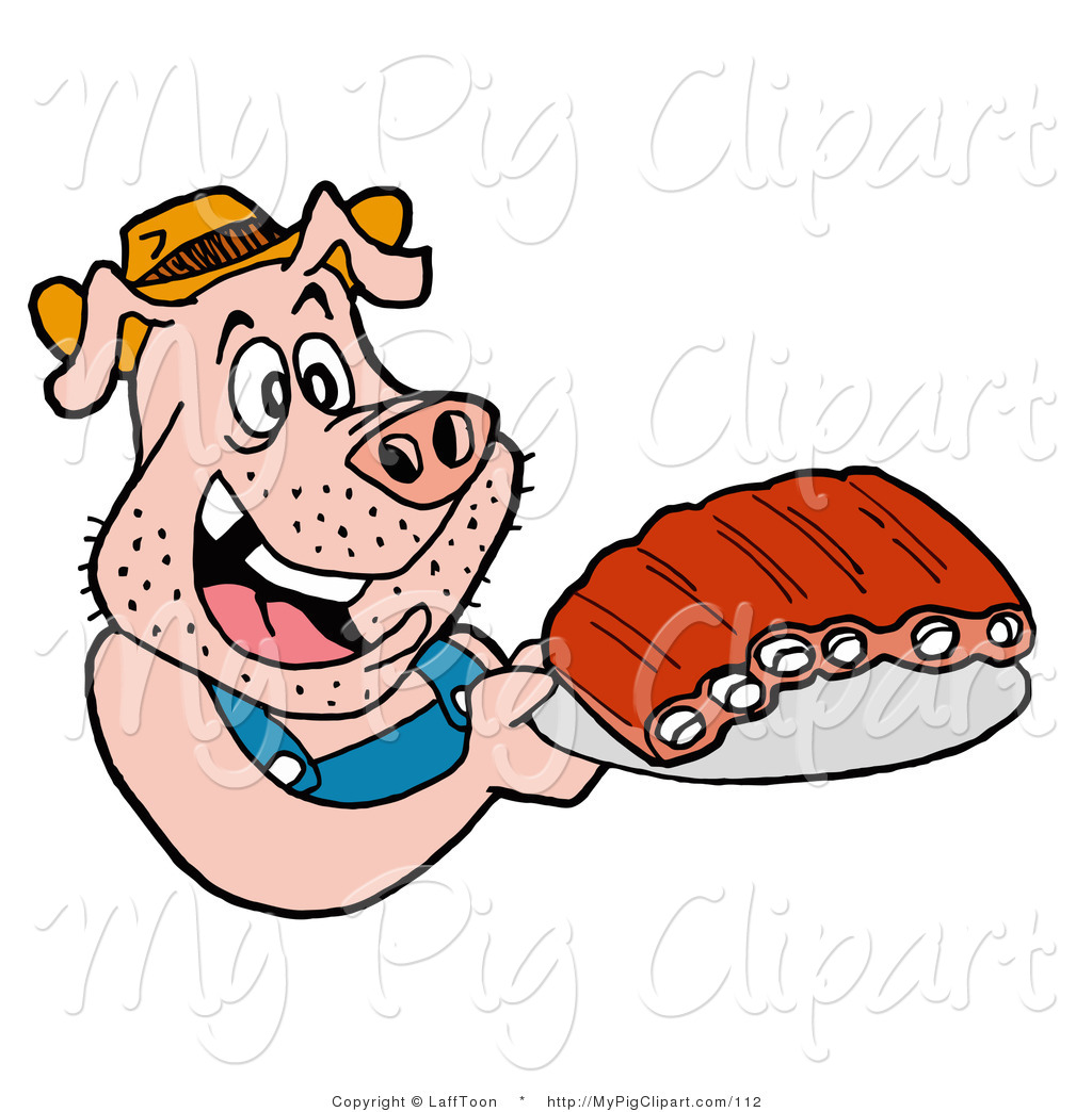 Swine Clipart Of A Redneck Pig In Overalls Eating Ribs By Lafftoon