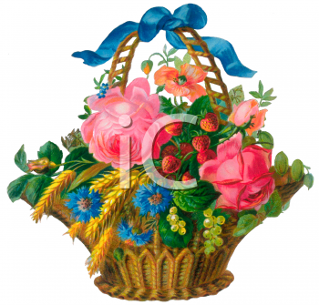 Victorian Flower Basket Clip Art   Royalty Free Clipart Illustration