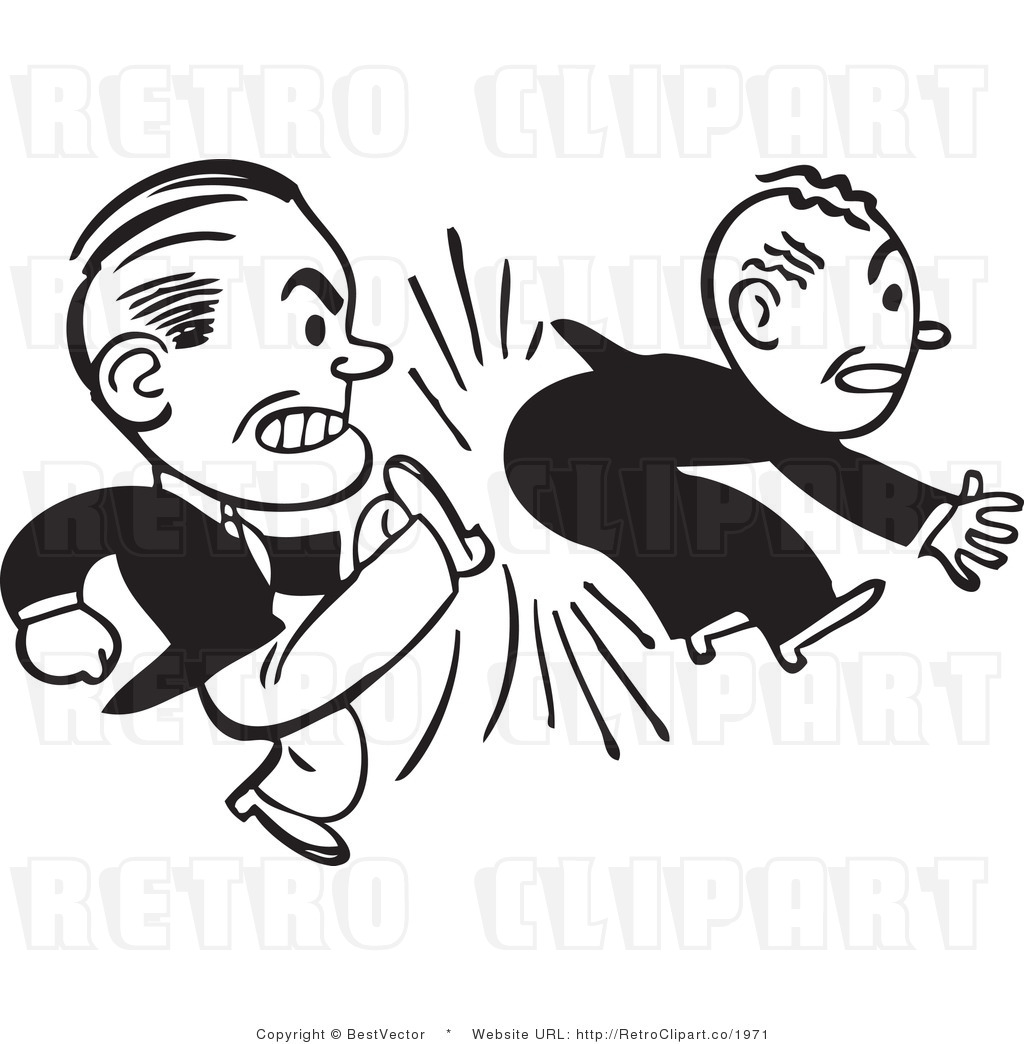 Black And White Retro Vector Clip Art Of A Man Kicking An Employee