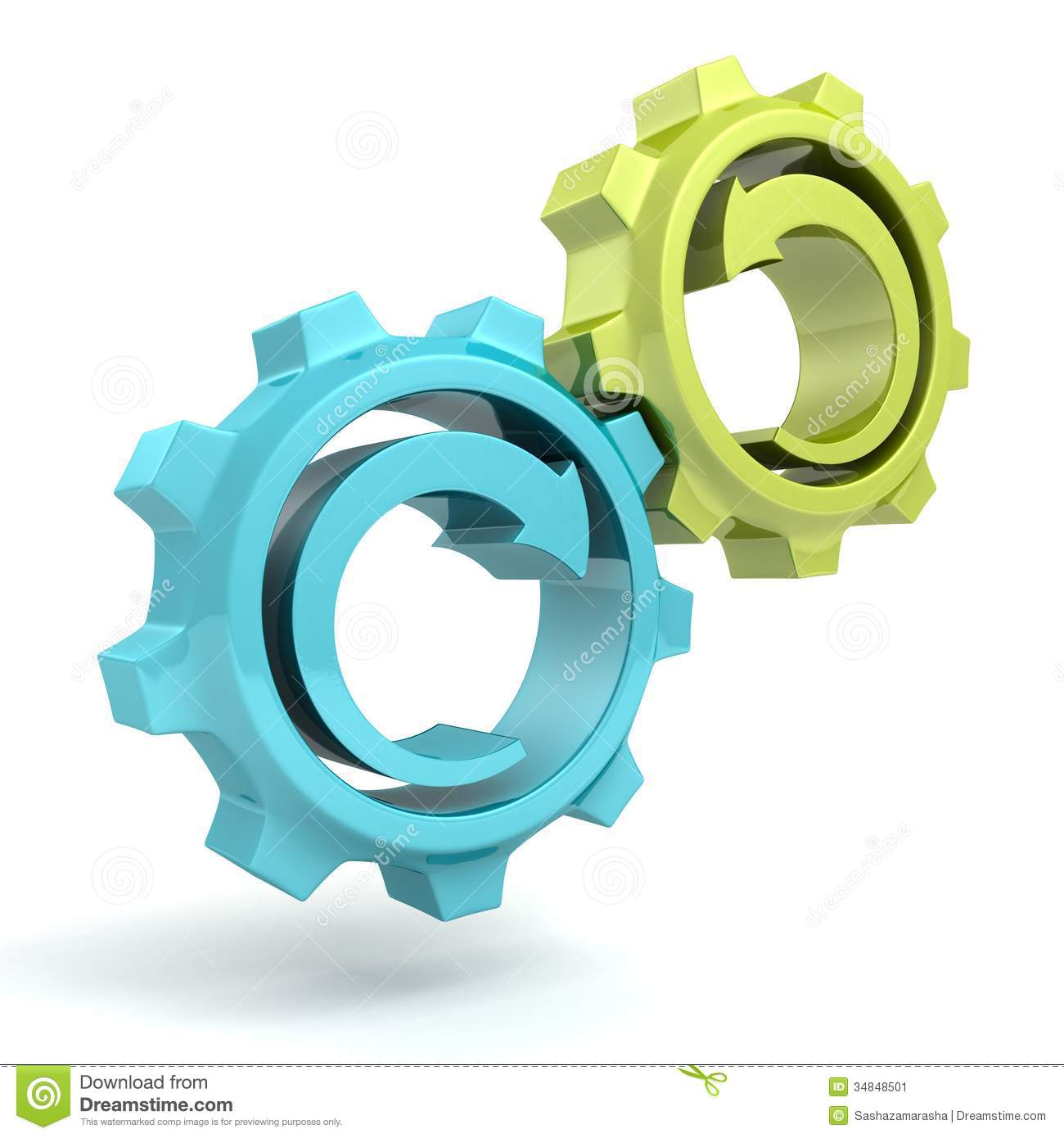 Business Process Concept Blue Green Gears With Arrows Stock Image