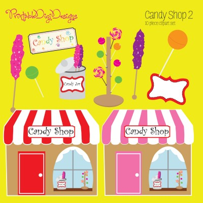 Candy Shop 2 Clipart Graphic Set   5 00 Sweet Candy Shop 2 Clipart