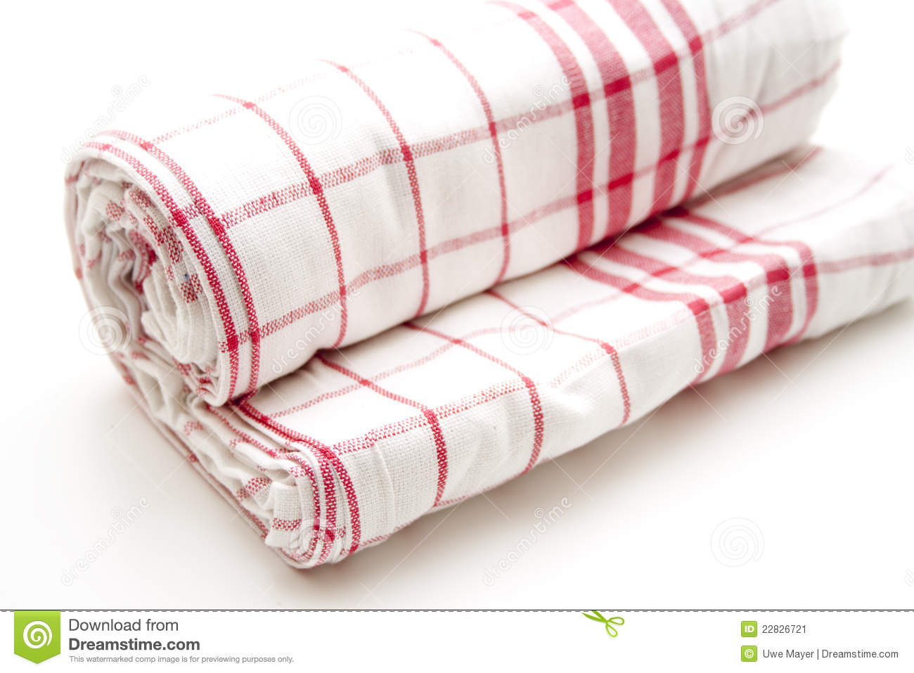 Checked Dish Towel Rolled Stock Image   Image  22826721