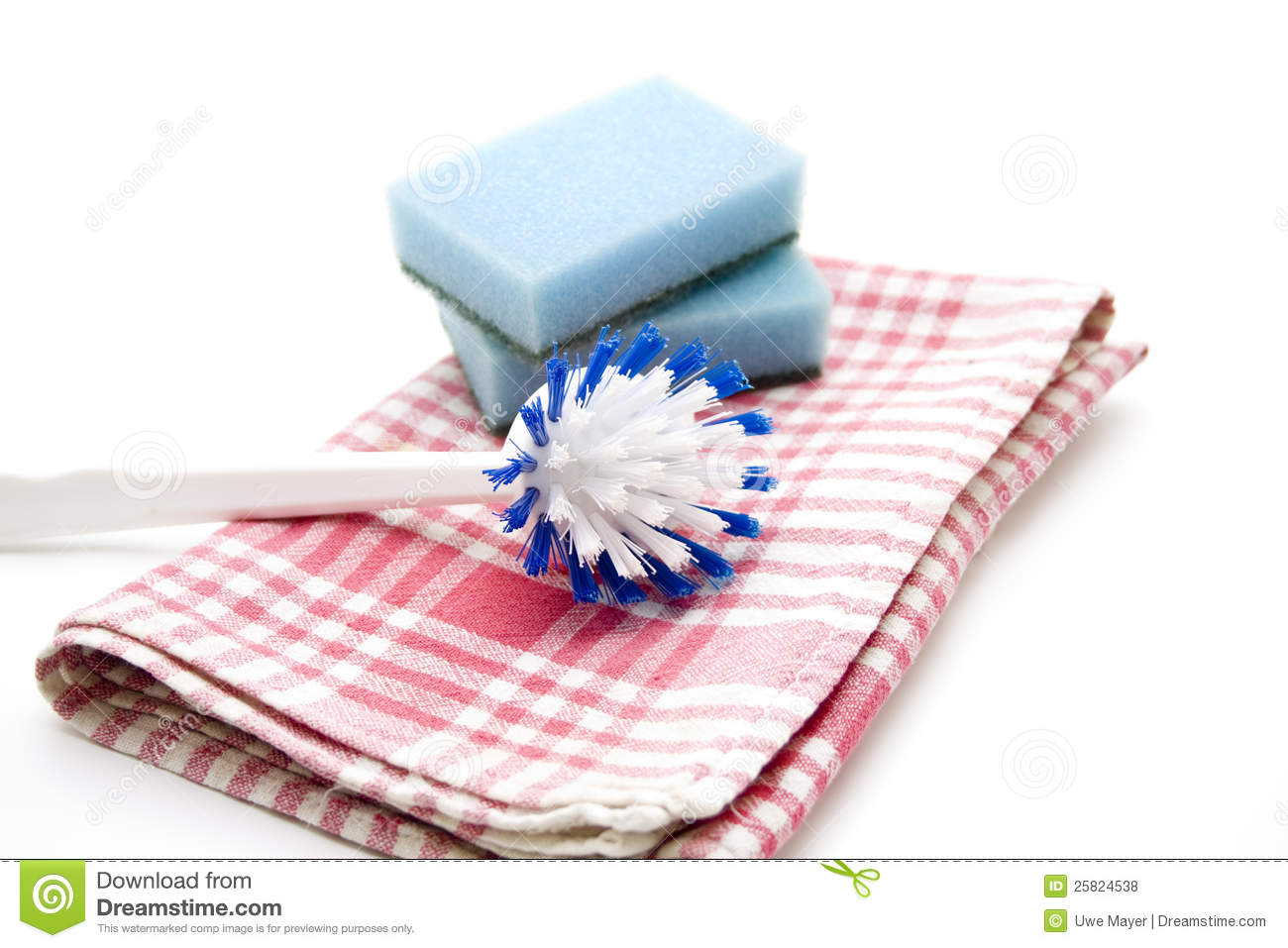 Dish Towel And Rinsing Brush Royalty Free Stock Photos   Image