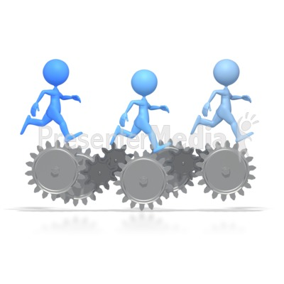 Figures Running On Gears   Science And Technology   Great Clipart