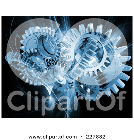 Free  Rf  Clipart Illustration Of Blue Mechanical Gears Over A Blue
