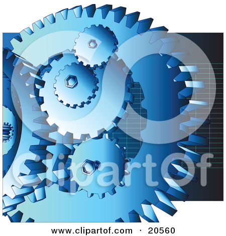 Group Of Blue Cogs And Gears At Work Over A Dark Blue Background With