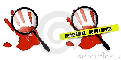 Handprint And Magnifying Glass And One With Crime Scene Tape Added