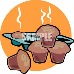 Muffin Tin Full Of Hot Fresh Muffins   Royalty Free Clipart Picture