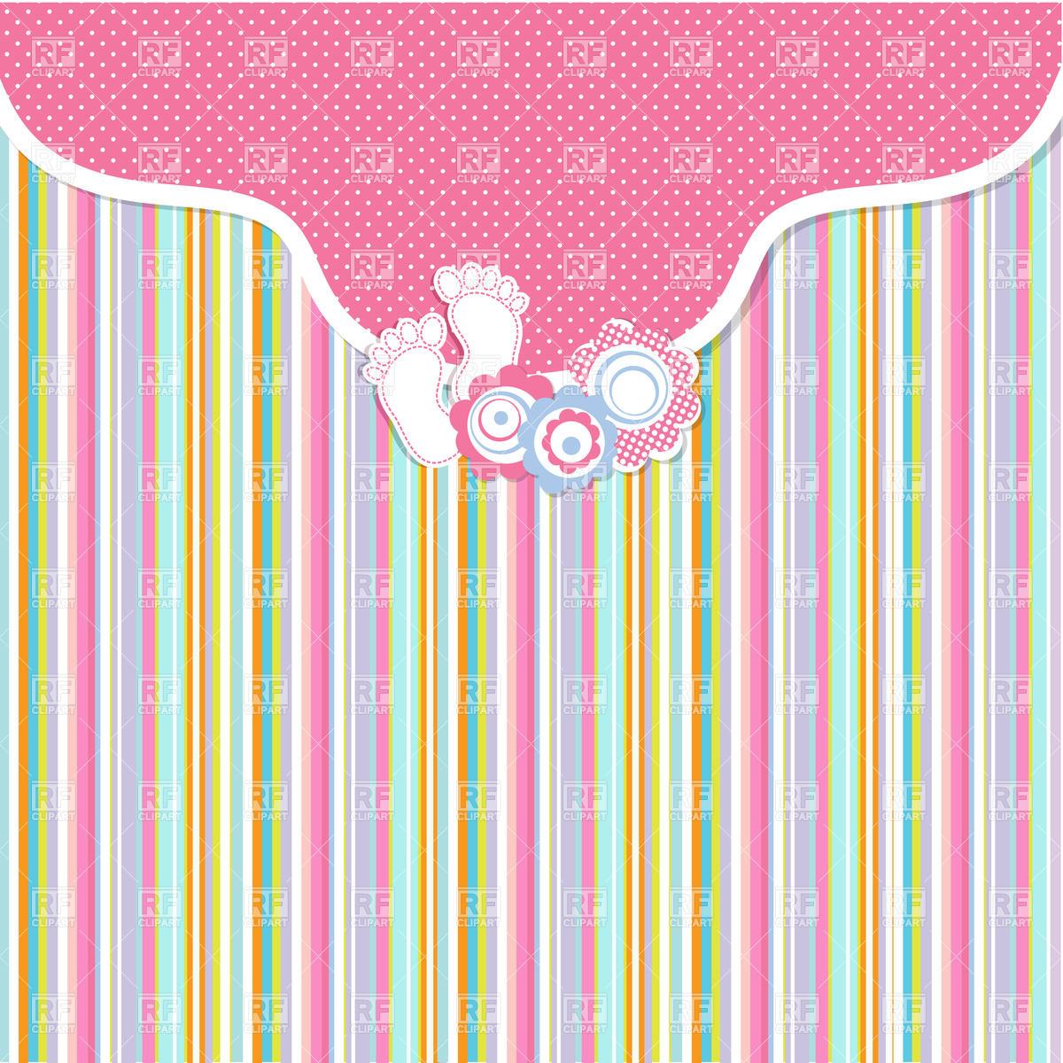 pink bended frame and stripped background baby girl arrival