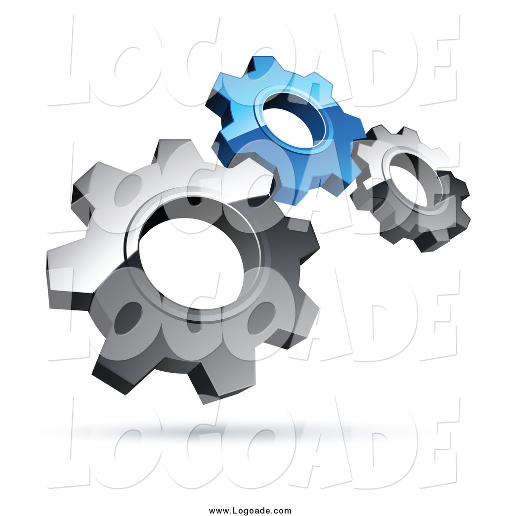Preview  Clipart Of A 3d Floating Silver And Blue Gears Logo By Beboy