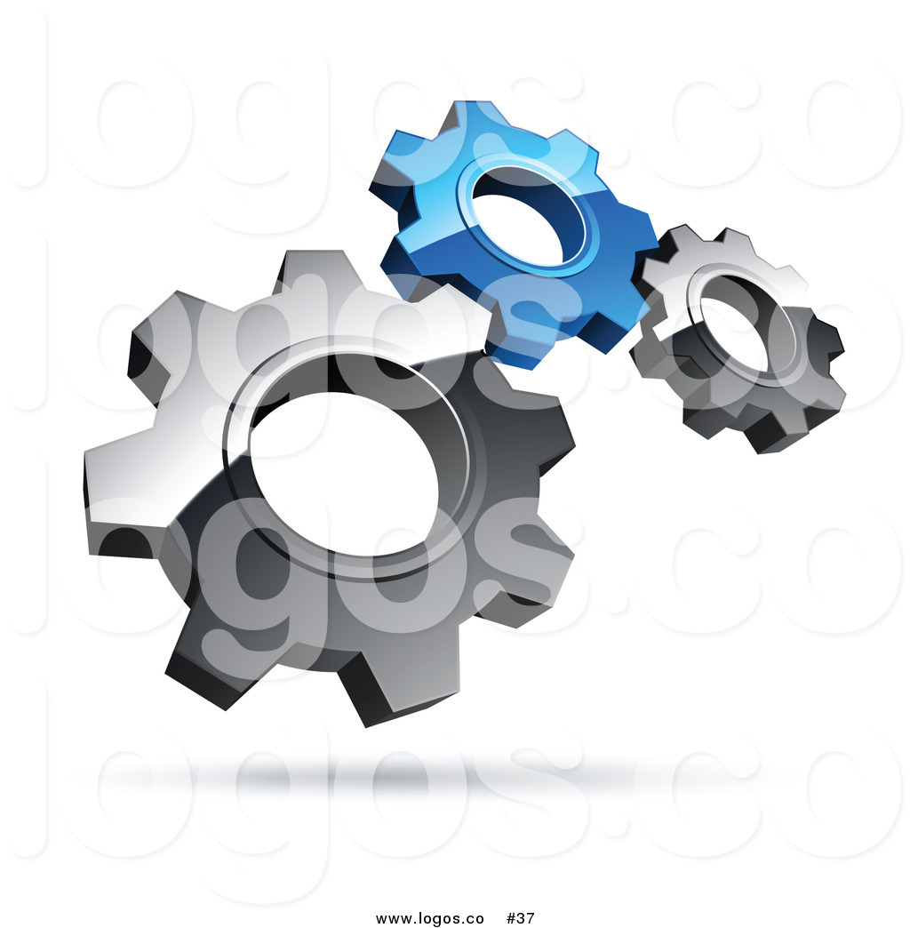 Royalty Free 3d Vector Logo Of Silver And Blue Gears By Beboy    37