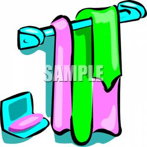 Soap Dish By A Towel Rack   Royalty Free Clipart Picture