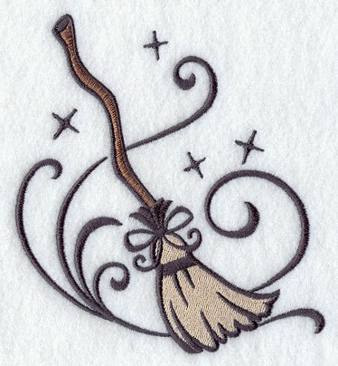 Witch Broom Embroidered Flour Sack Hand Dish Towel   13 99 Via Etsy