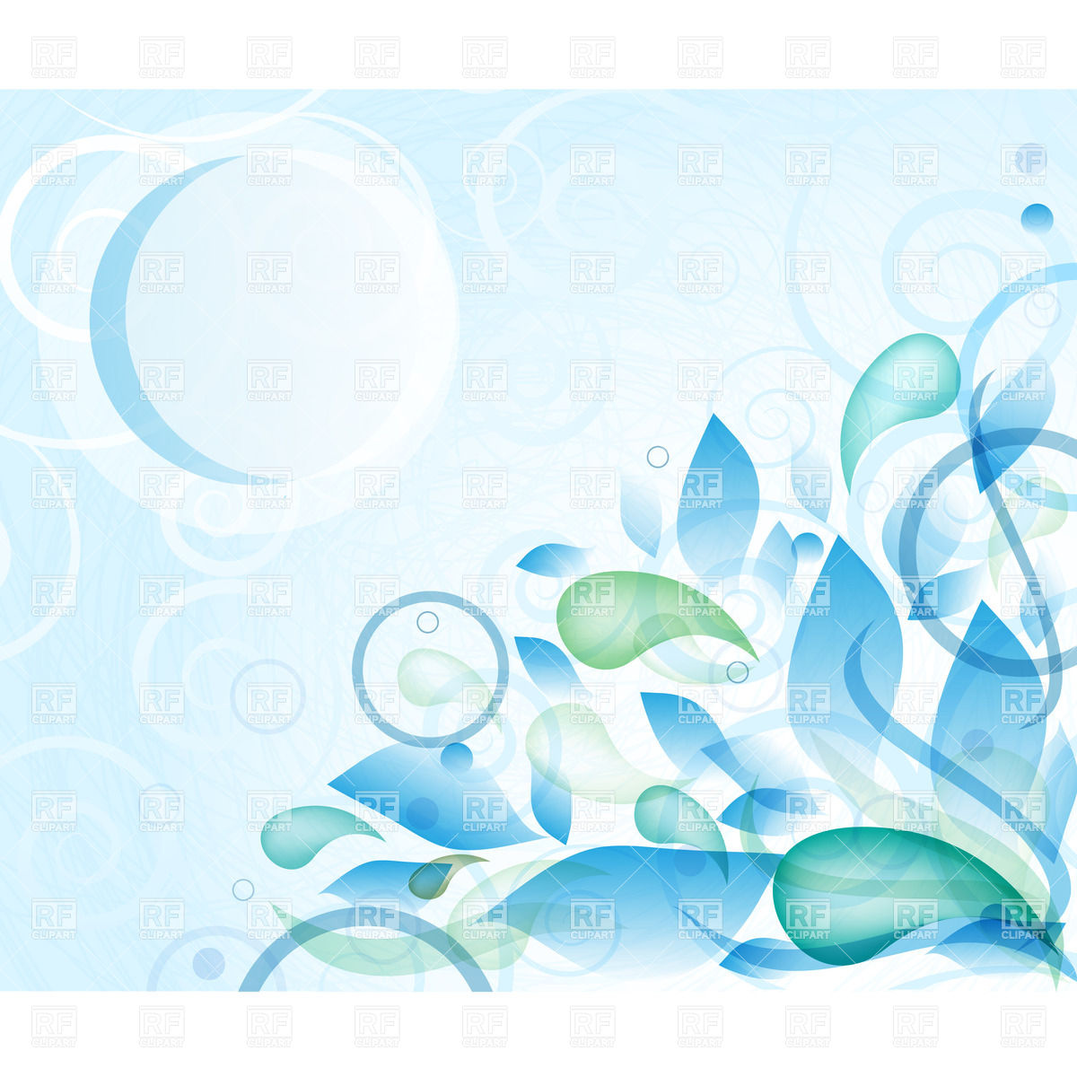 Abstract Blue Background With Foliage And Curls 21703 Download