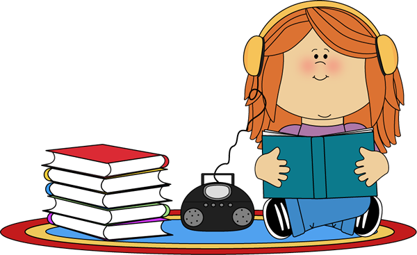 Book On Cd Player Clip Art   Girl Listening To Book On Cd Player Image