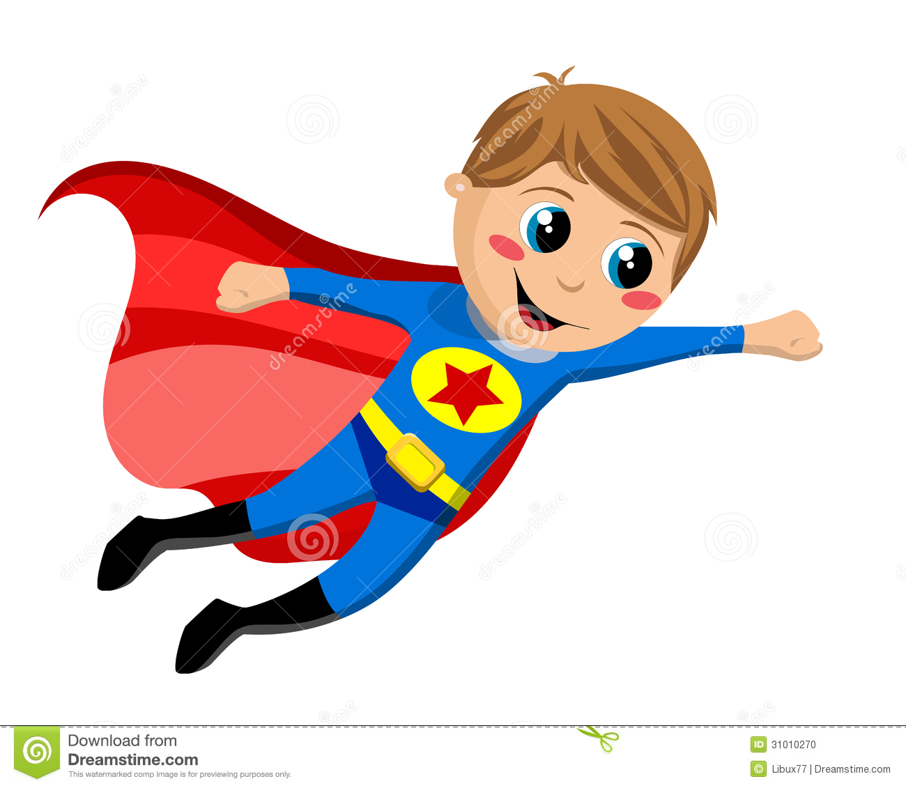 Boy Super Hero Clip Art Superhero Kid Flying Isolated White Background