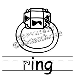 Clip Art  Basic Words   Ing Phonics  Ring B W   Preview 1
