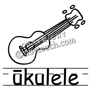 Clip Art  Basic Words  Ukulele B W Labeled   Preview 1